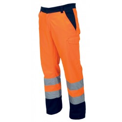 PANTALON CHARTER ORANGE FLUO/MARINE T:L